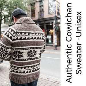 Authentic Cowichan Snowflake Wool Full Zip Sweater